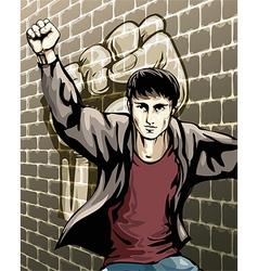 Protesting boy vector image
