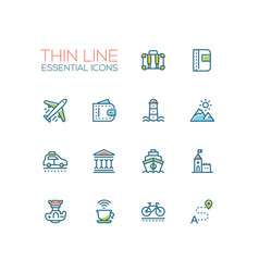 Traveling - line icons set vector