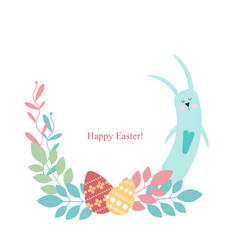 easter frame - eeping rabbit flowers plants vector image