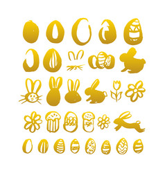 gold hand drawn easter vector image