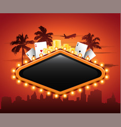 Vegas casino neon sign in front or cityscape vector