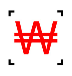 won sign red icon inside black focus vector image vector image