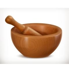 Wooden mortar icon vector image