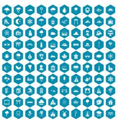 100 scenery icons sapphirine violet vector image