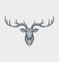 abstract low poly triangle deer head decorative vector image
