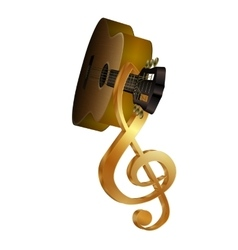 acoustic guitar with a treble clef on the vector image vector image