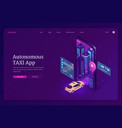 autonomous taxi app isometric landing page banner vector image