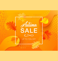 autumn sale with gradient shapes and leaves vector image