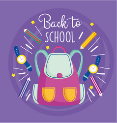Back to school rucksack pencil color watch vector