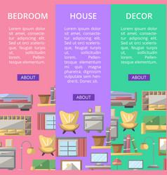 Bedroom furniture renovation flyers set vector