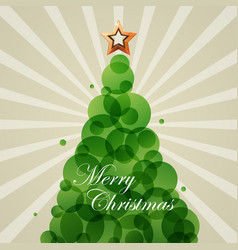 blue cristmas fir star green circle vector image