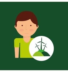 Boy cartoon save earth icon eco energy vector
