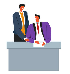 business partners signing contract or agreement vector image