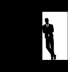 Businessman leaning at black blank space vector
