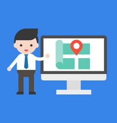 businessman show location on computer screen vector image