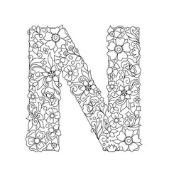 Capital letter n patterned with abstract flowers vector