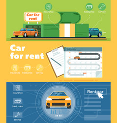 car for rent banner set in flat design vector image