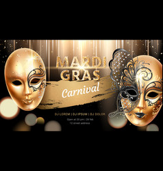 Carnival mask with butterfly for mardi gras banner vector