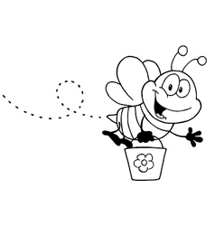 Cartoon bee with pollen vector