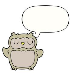 Cartoon owl and speech bubble vector