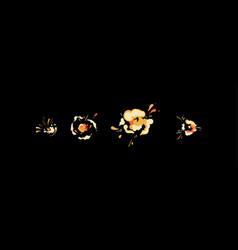 cartoon spark explosion animation frame set vector image