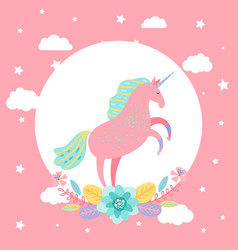 cartoon unicorn with stars flowers card vector image