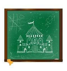 Castle drawing on blackboard art vector