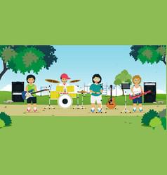 Children play music vector