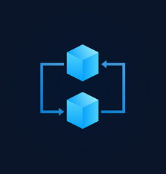 concept blockchain icon - two blue cubes vector image