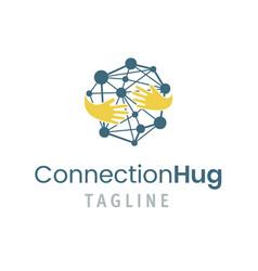 connection hug logo template vector image