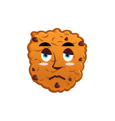 Cookies sad emoji biscuit emotion sorrowful food vector