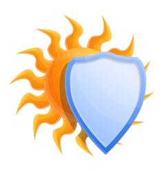 Cosmetic sun protect shield icon cartoon style vector