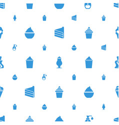 cream icons pattern seamless white background vector image
