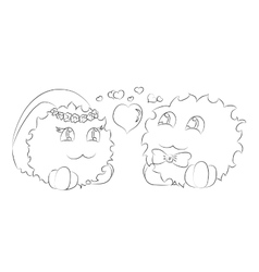 cute monsters bride and groom hearts coloring book vector image