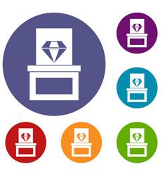 Diamond in box icons set vector