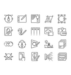 Digital design line icon set vector