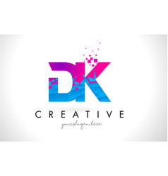 Dk d k letter logo with shattered broken blue vector