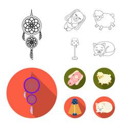 Dream catcher soft toy sheep and rabbit floor vector