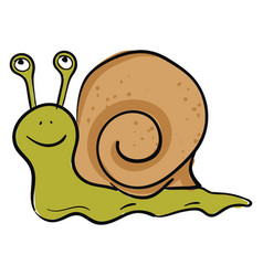 Emoji a happy green-colored snail or color vector