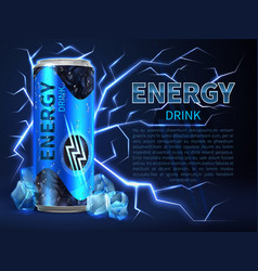 Energy drink can surrounded of electrical vector