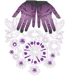 Ethnic purple hands flowers flower vector