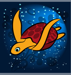 exotic sea turtle vector image