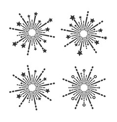 Exploding fireworks icons set on white background vector