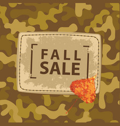 fall sale banner with patch on camo background vector image