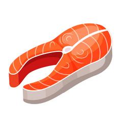 fish steak salmon steak isolated on white vector image