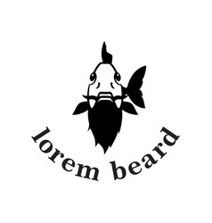 fish with beard logo carp fishing logo concept vector image