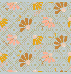 flower pattern in pastel colors on geometric line vector image