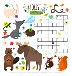 Forest animals crossword puzzle vector