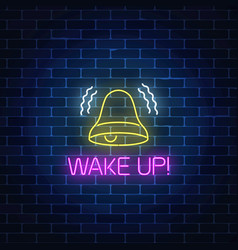 glowing neon sign with ringing bell and wake up vector image