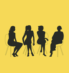 Group of four women sitting together talking vector